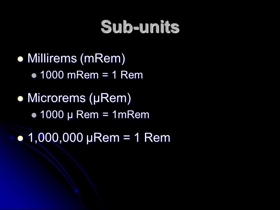 Sub-units Millirems (mRem) Microrems (µRem) 1,000,000 µRem = 1 Rem