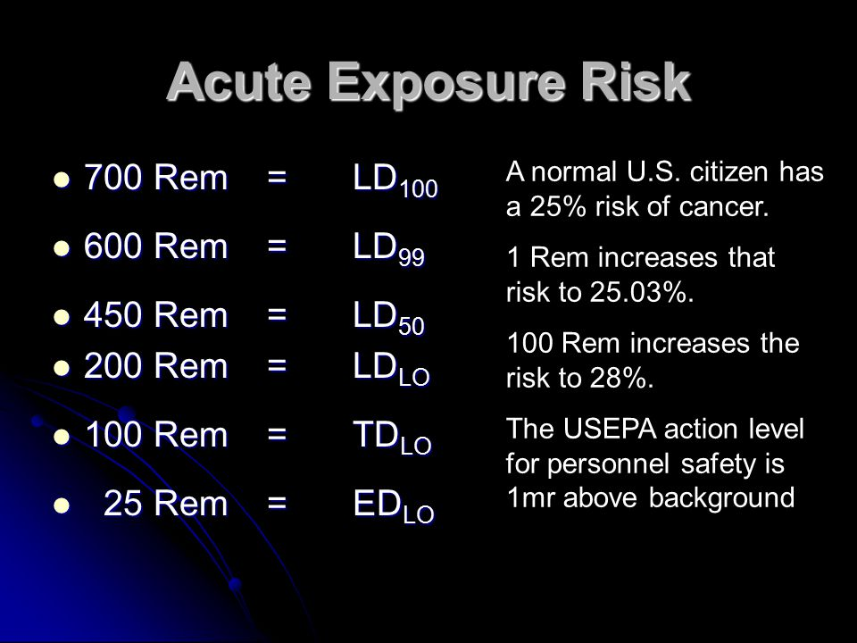 Acute Exposure Risk 700 Rem = LD100 600 Rem = LD99 450 Rem = LD50