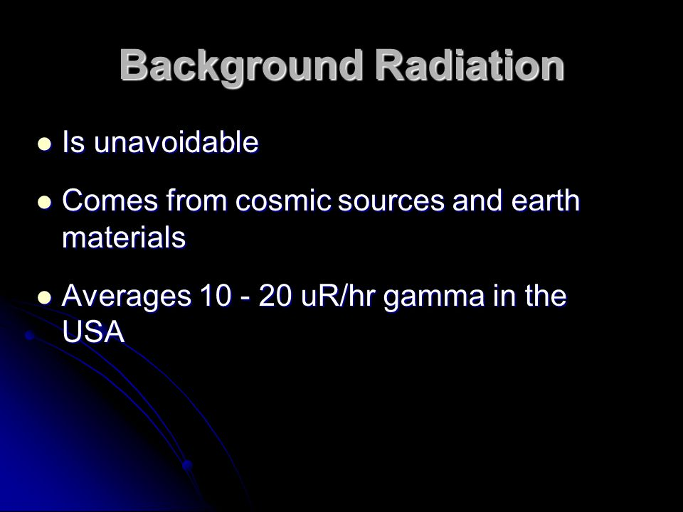 Background Radiation Is unavoidable
