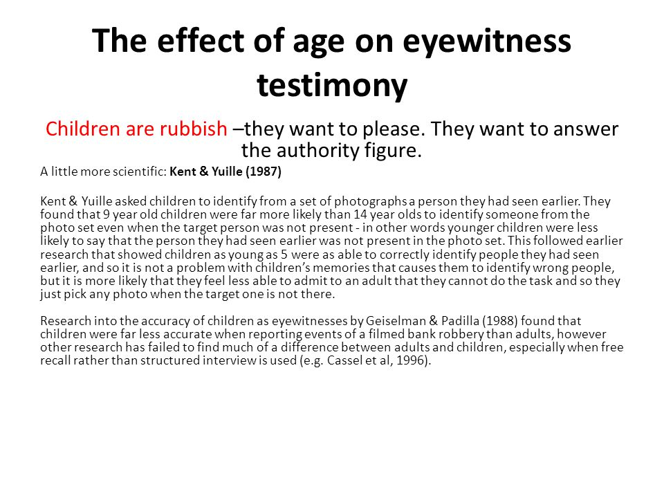 The effect of age on eyewitness testimony