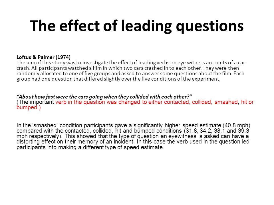 The effect of leading questions