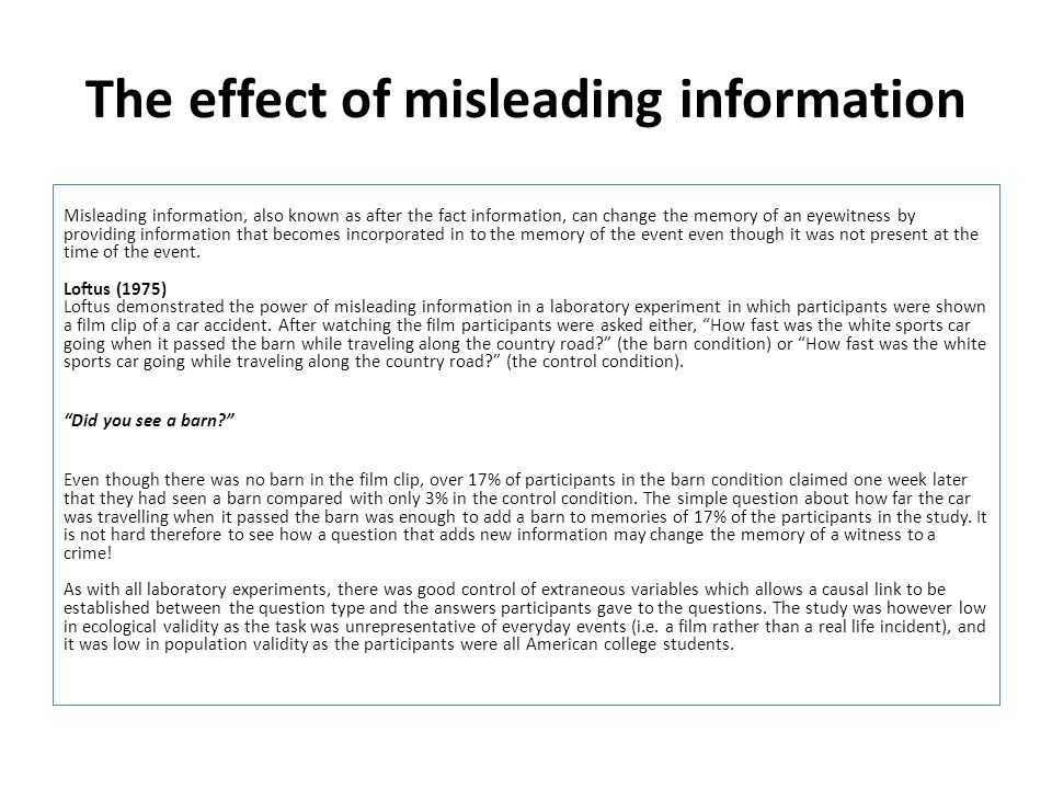 The effect of misleading information