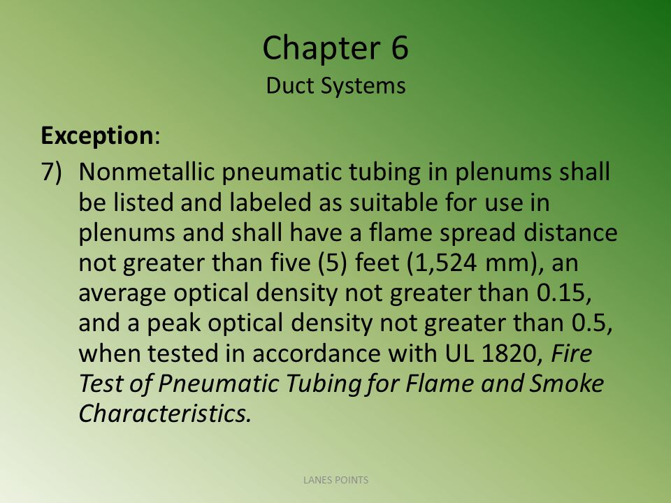 Chapter 6 Duct Systems Exception: