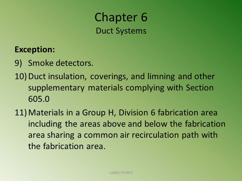 Chapter 6 Duct Systems Exception: Smoke detectors.