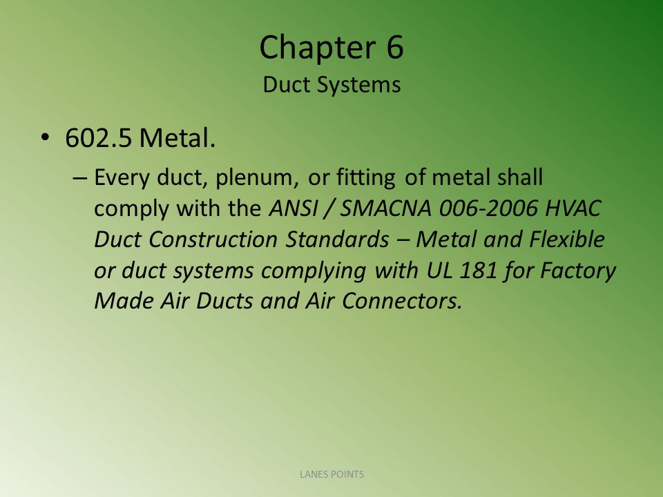 Chapter 6 Duct Systems 602.5 Metal.