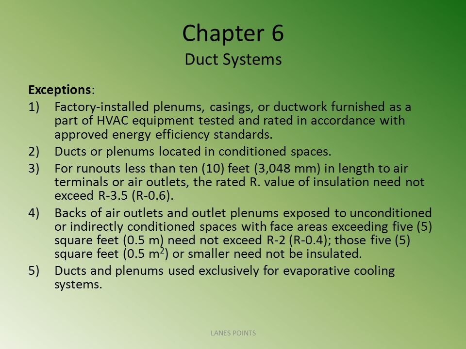 Chapter 6 Duct Systems Exceptions: