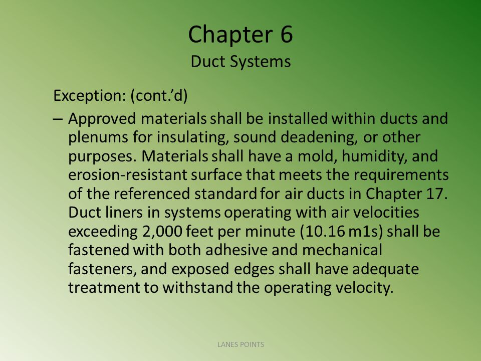 Chapter 6 Duct Systems Exception: (cont.'d)
