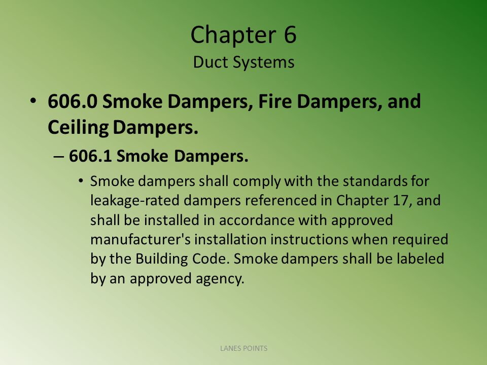 Chapter 6 Duct Systems 606.0 Smoke Dampers, Fire Dampers, and Ceiling Dampers. 606.1 Smoke Dampers.