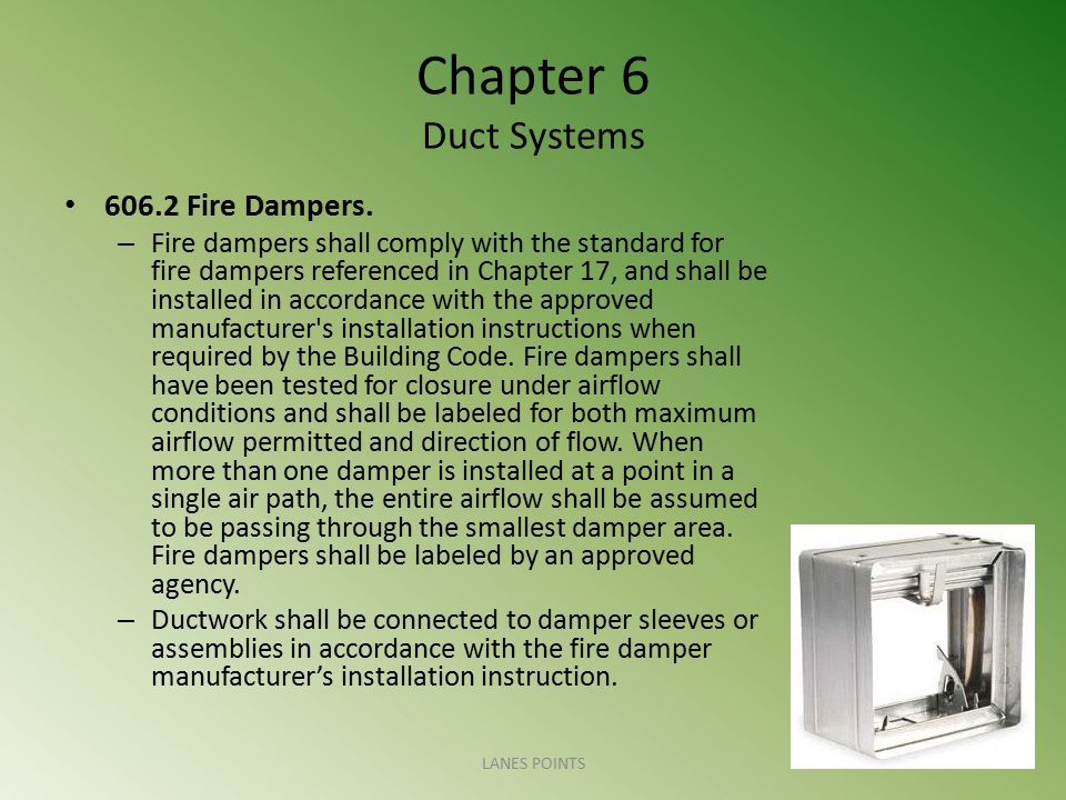 Chapter 6 Duct Systems 606.2 Fire Dampers.