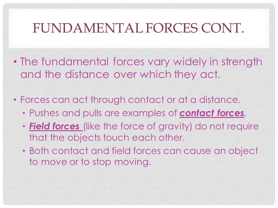Fundamental forces cont.