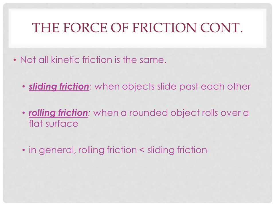 The Force of friction cont.