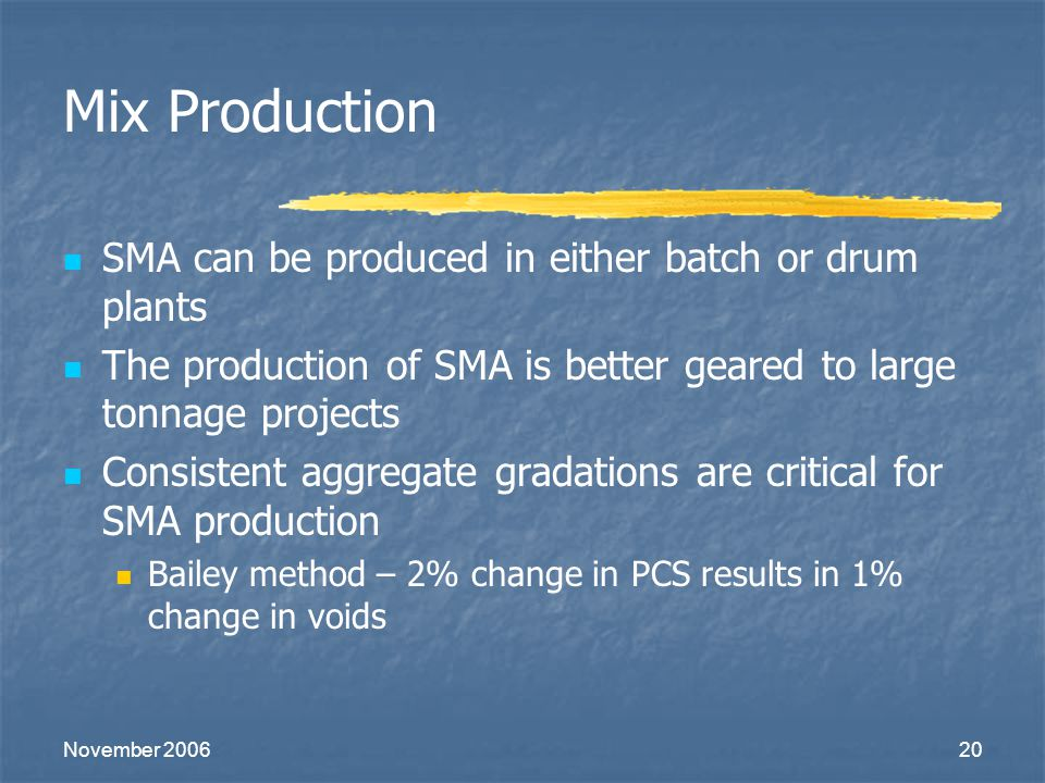 Mix Production SMA can be produced in either batch or drum plants