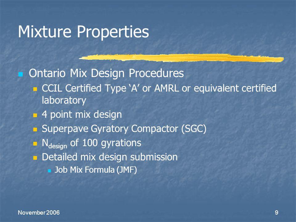 Mixture Properties Ontario Mix Design Procedures