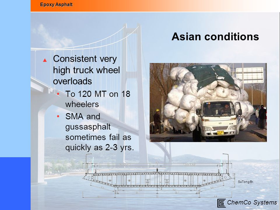 Asian conditions Consistent very high truck wheel overloads