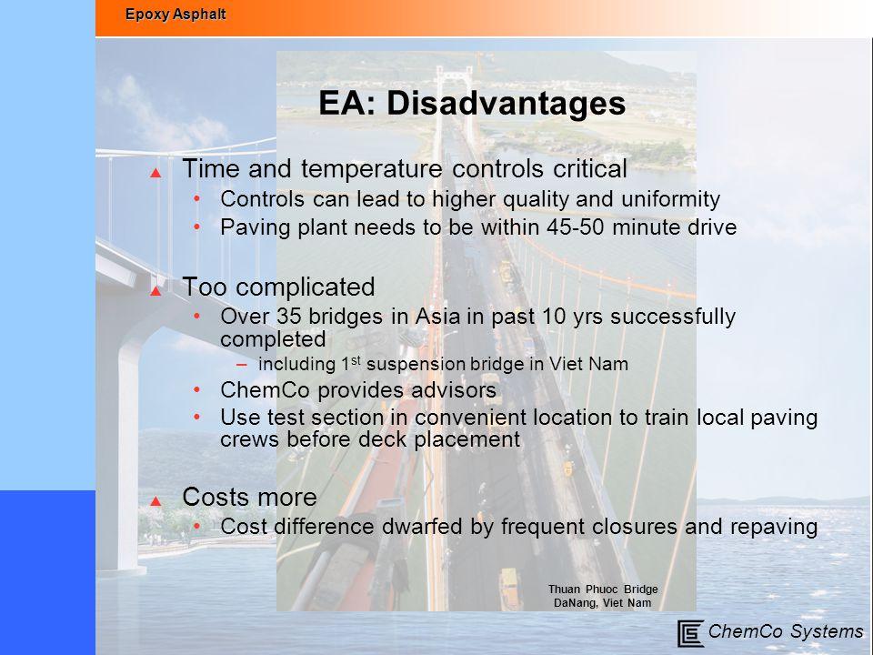 EA: Disadvantages Time and temperature controls critical