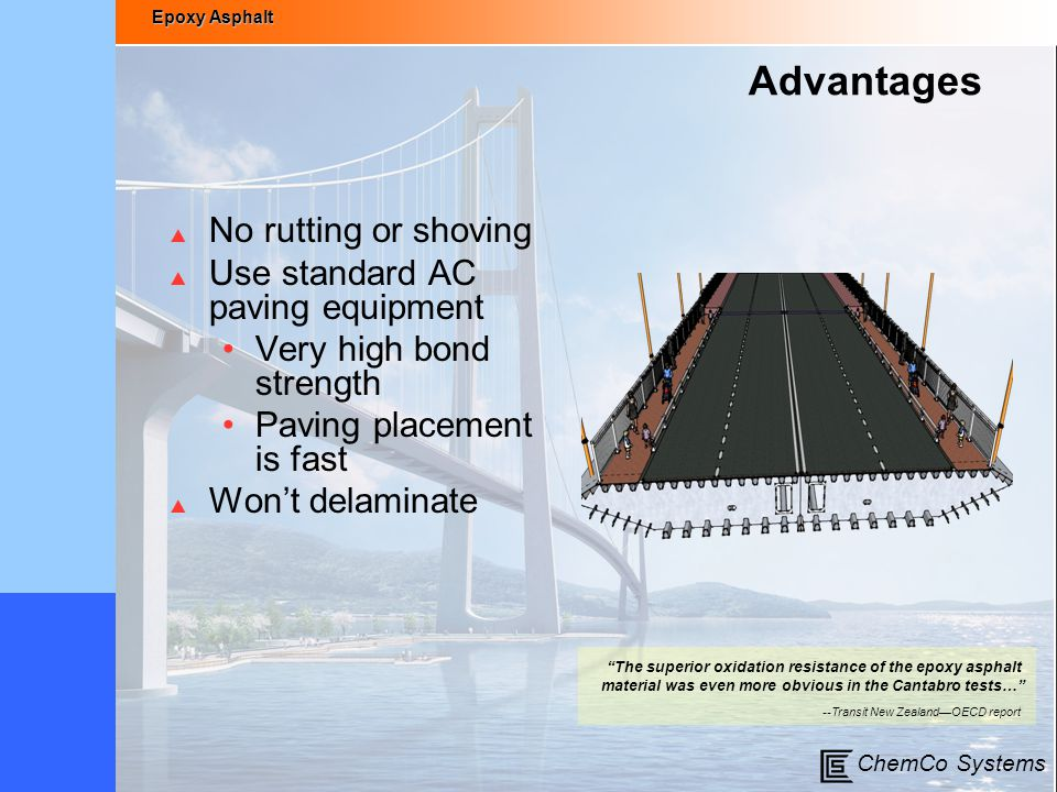 Advantages No rutting or shoving Use standard AC paving equipment