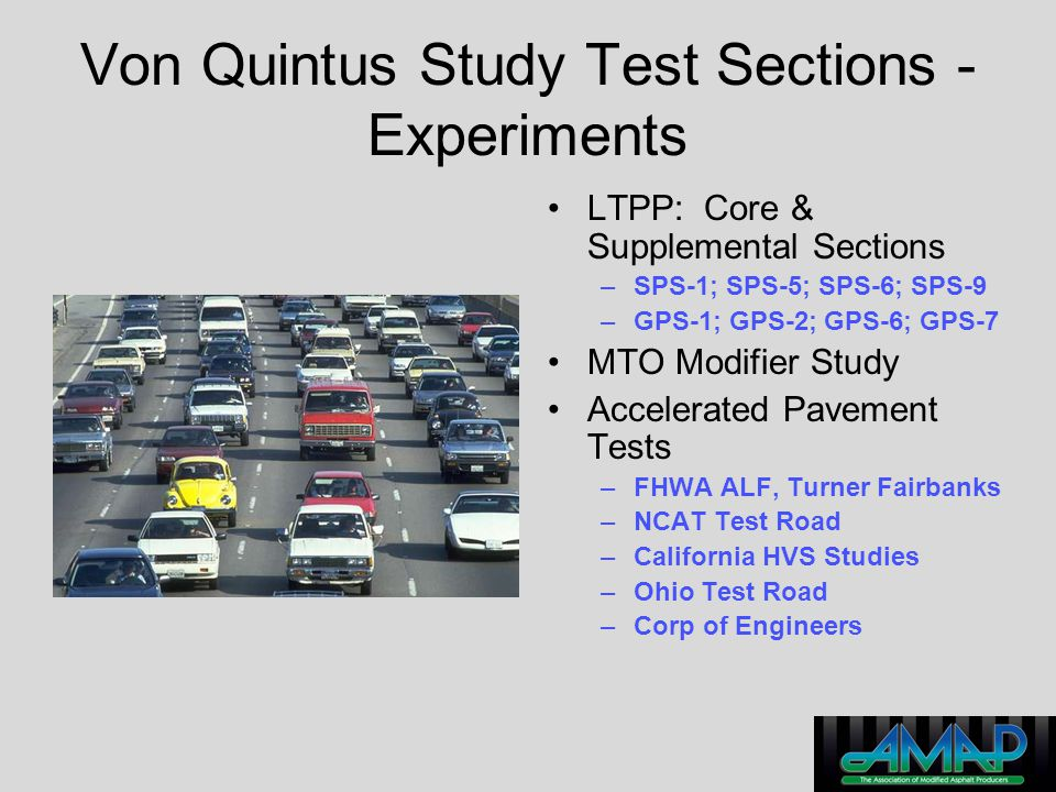 Von Quintus Study Test Sections - Experiments