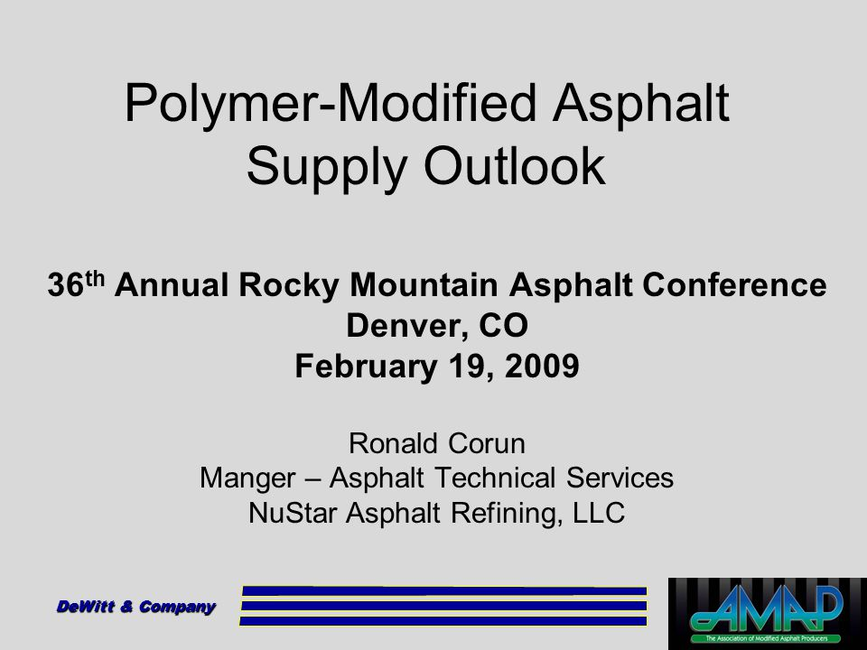 Polymer-Modified Asphalt Supply Outlook