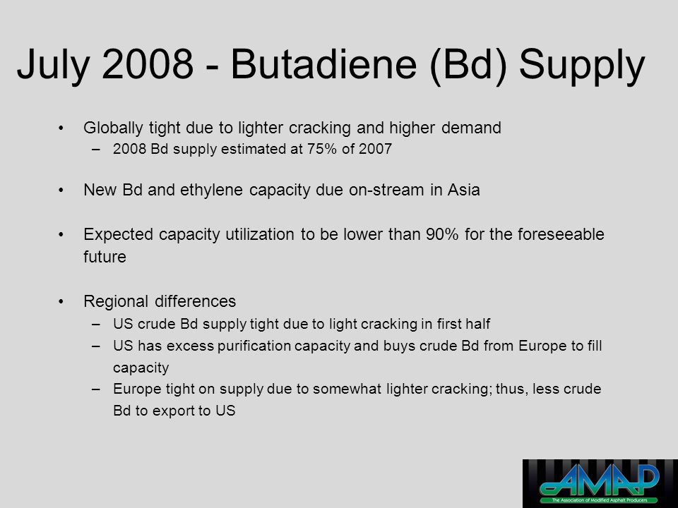 July 2008 - Butadiene (Bd) Supply