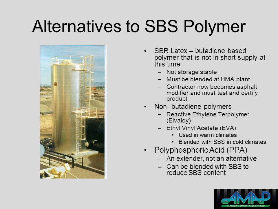 Alternatives to SBS Polymer