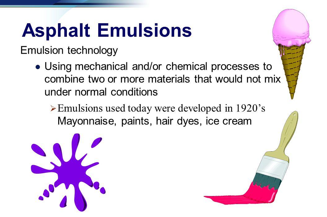 Asphalt Emulsions Emulsion technology