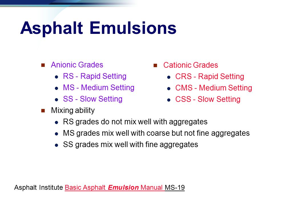 Asphalt Emulsions Anionic Grades Cationic Grades RS - Rapid Setting