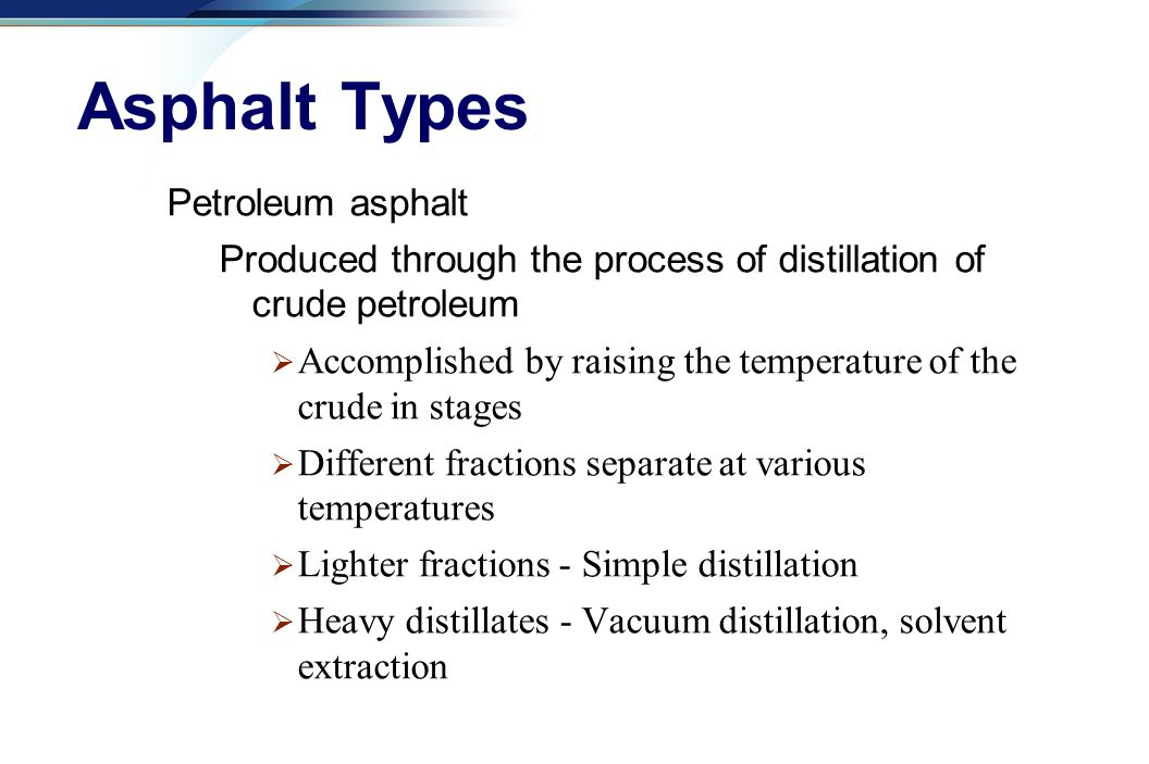 Asphalt Types Petroleum asphalt