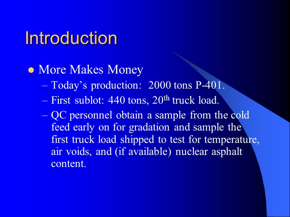 Introduction More Makes Money Today's production: 2000 tons P-401.