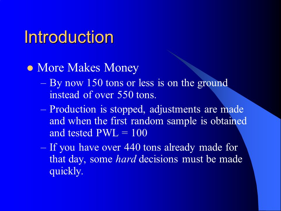 Introduction More Makes Money