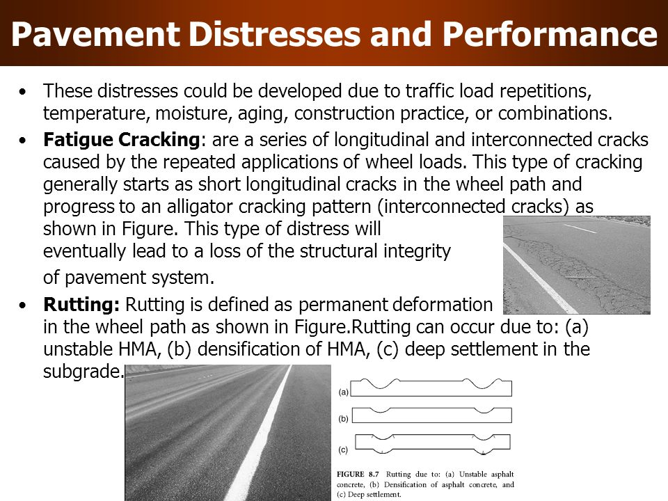 Pavement Distresses and Performance