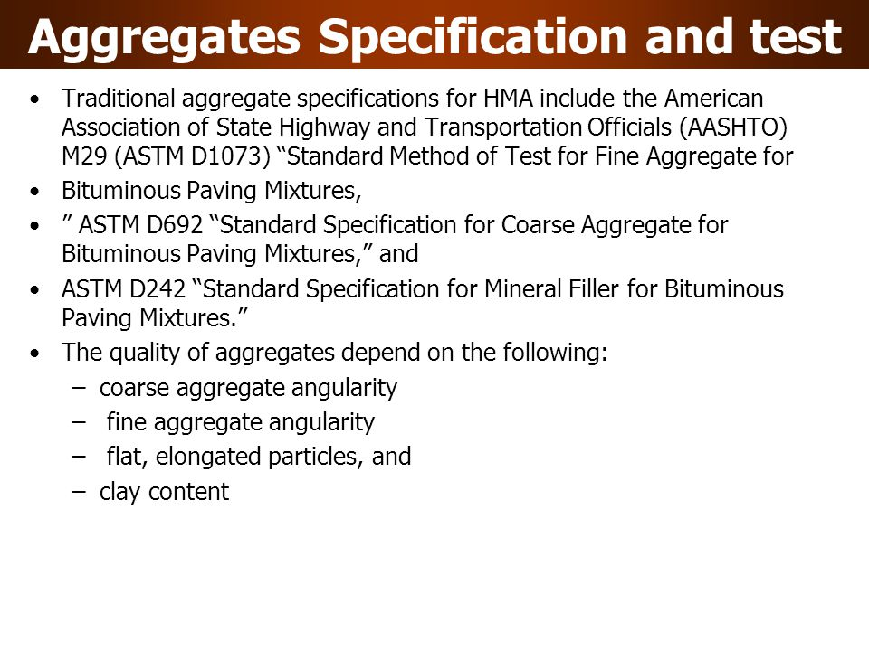 Aggregates Specification and test