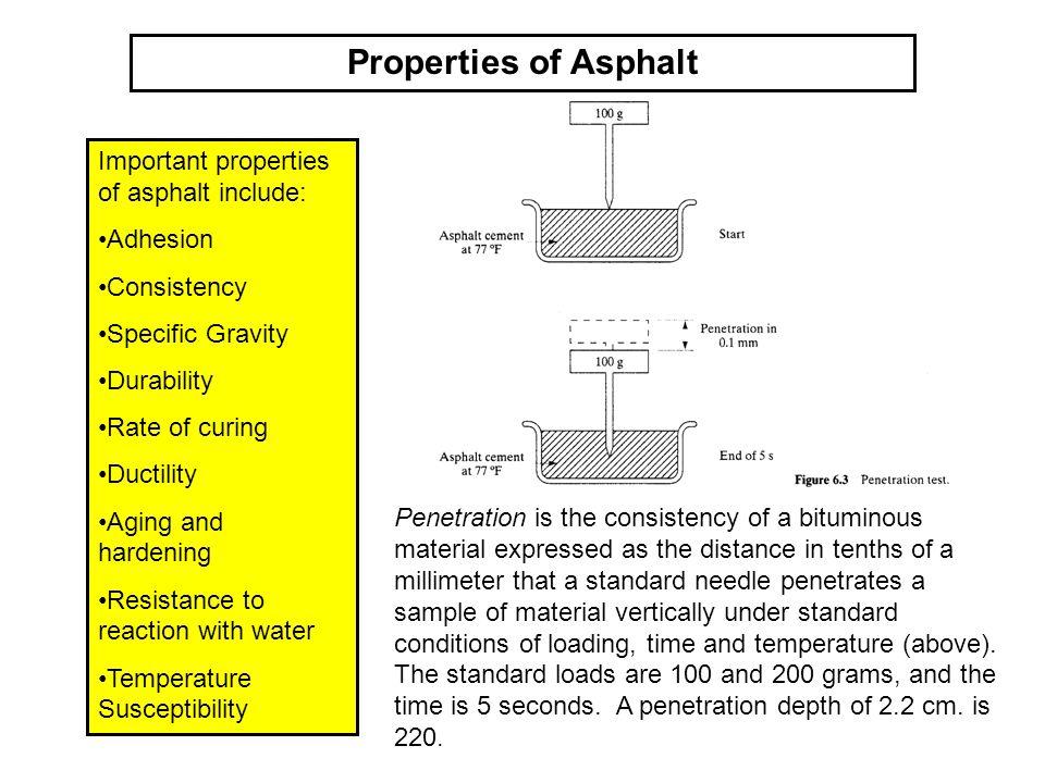Properties of Asphalt Important properties of asphalt include: