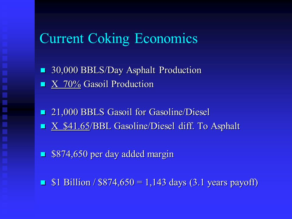 Current Coking Economics