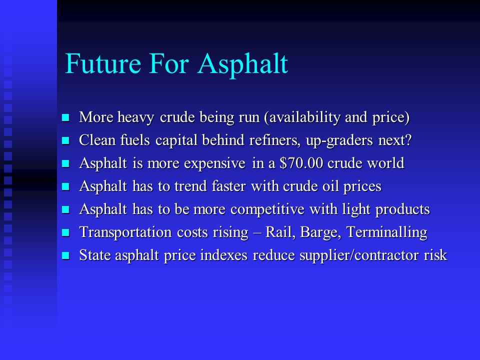 Future For Asphalt More heavy crude being run (availability and price)