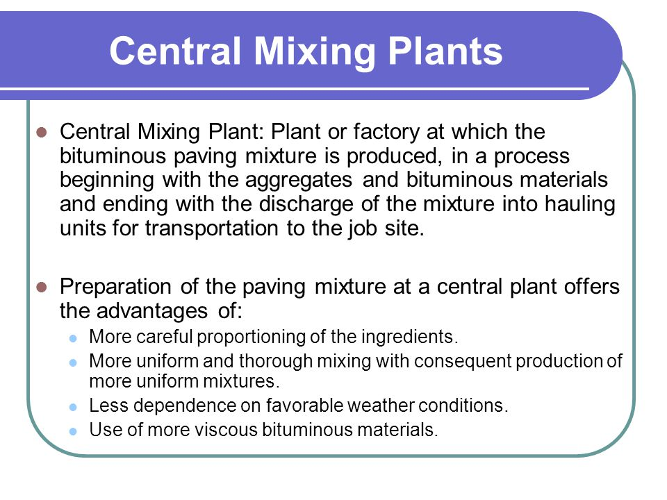 Central Mixing Plants