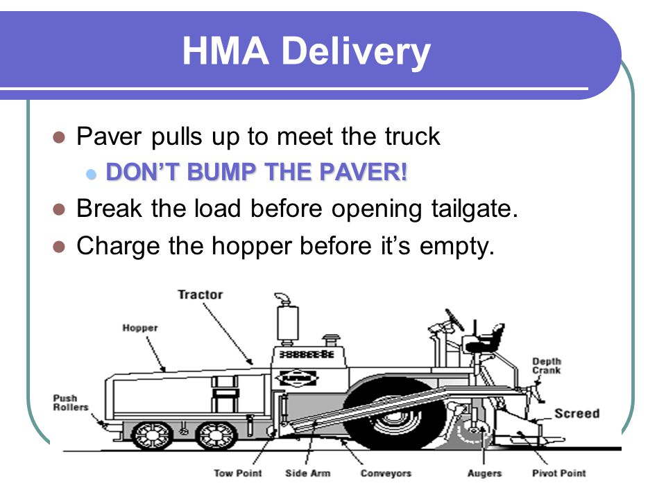 HMA Delivery Paver pulls up to meet the truck