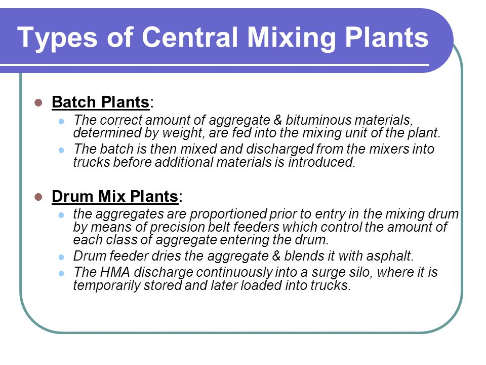 Types of Central Mixing Plants