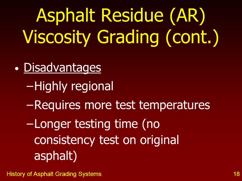 Asphalt Residue (AR) Viscosity Grading (cont.)