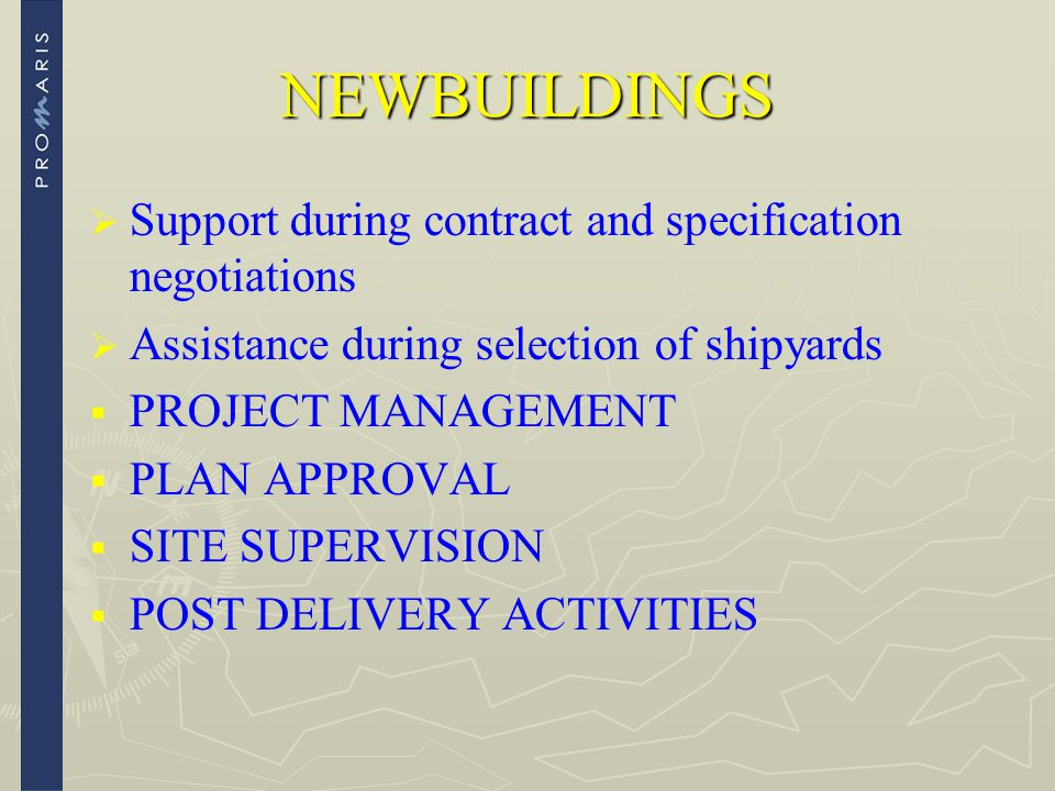 NEWBUILDINGS Support during contract and specification negotiations