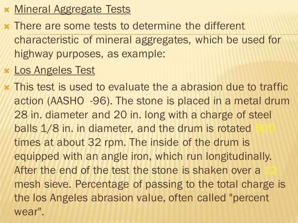 Mineral Aggregate Tests
