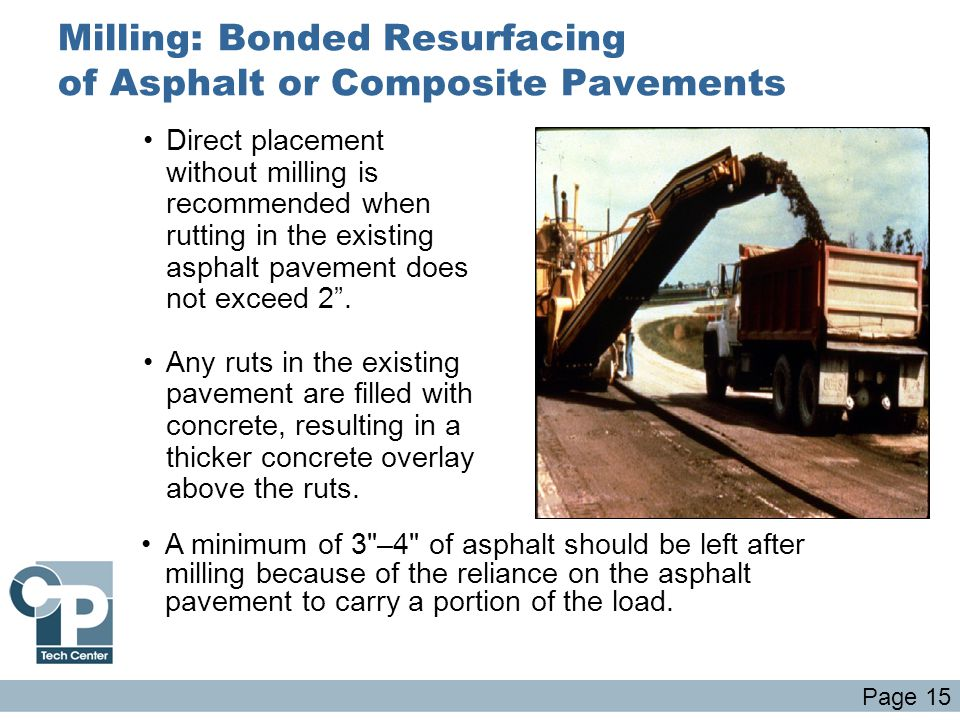Milling: Bonded Resurfacing of Asphalt or Composite Pavements