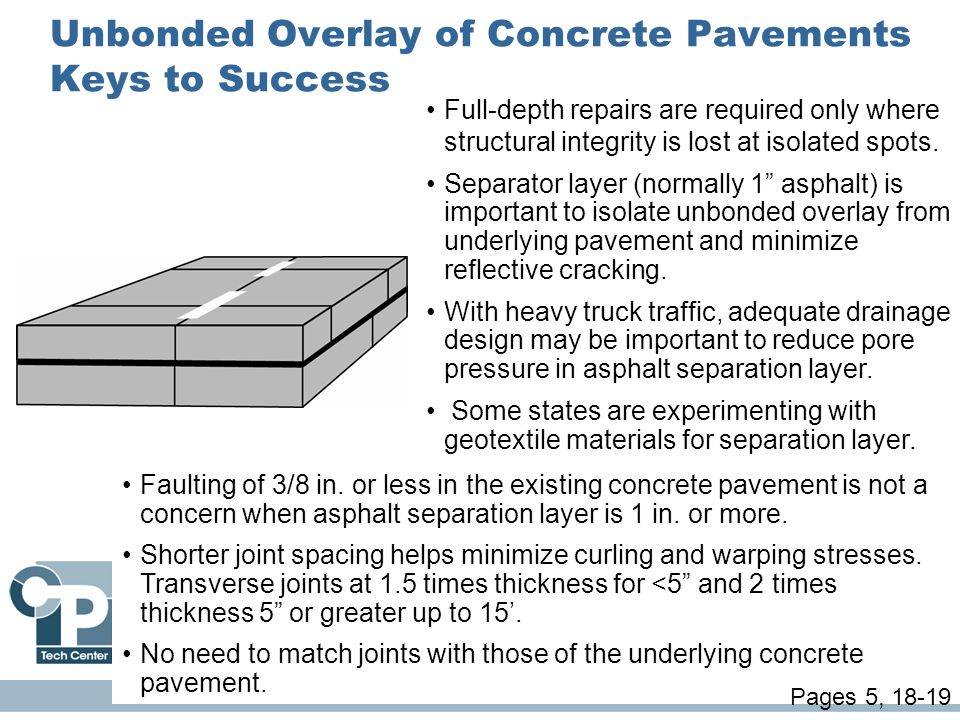 Unbonded Overlay of Concrete Pavements Keys to Success