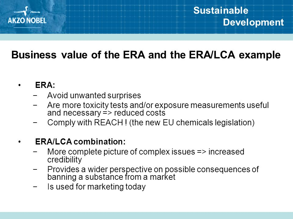 Business value of the ERA and the ERA/LCA example