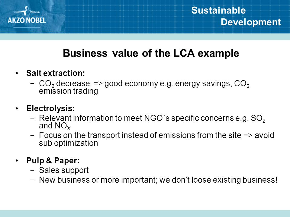 Business value of the LCA example
