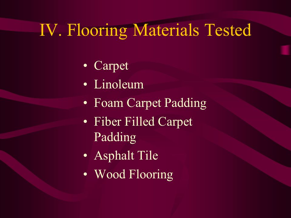 IV. Flooring Materials Tested