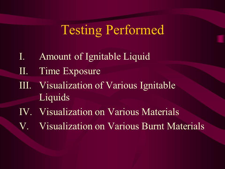 Testing Performed Amount of Ignitable Liquid Time Exposure