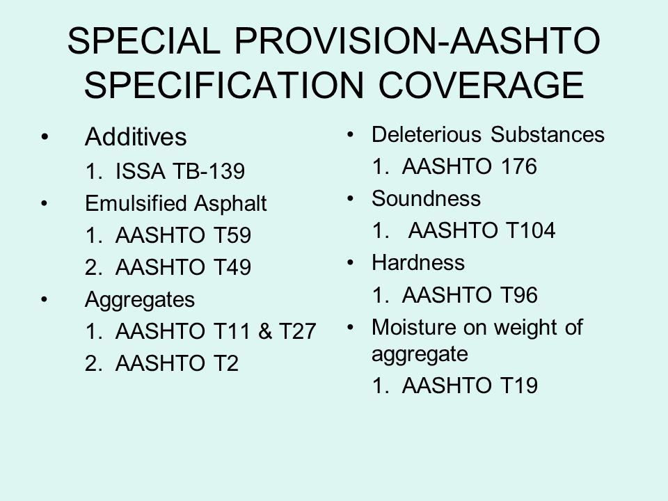 SPECIAL PROVISION-AASHTO SPECIFICATION COVERAGE