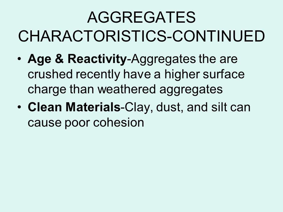 AGGREGATES CHARACTORISTICS-CONTINUED