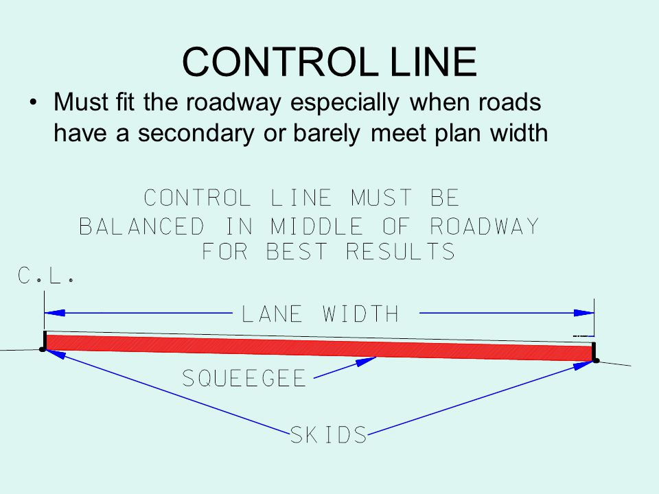 CONTROL LINE Must fit the roadway especially when roads have a secondary or barely meet plan width