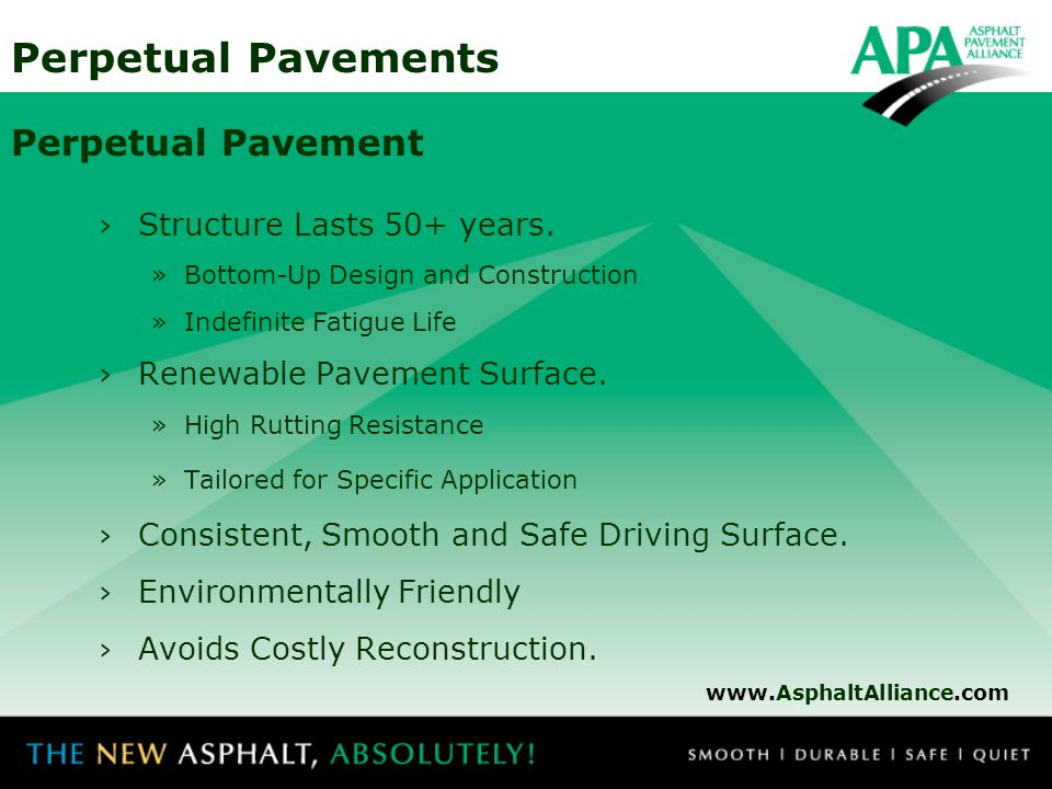 Perpetual Pavement Structure Lasts 50+ years.